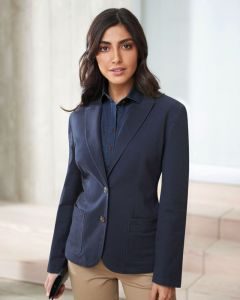 Woman Wearing A Navy Blue Tailored Fit Chino Jacket