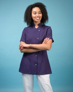 Ladies Short Sleeve Tunic Stand Collar And Feature Metal Button Fastening in purple