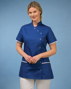 Women's Stud Fasten Tunic Contrast Trim On Sleeves And Lower Pocket Tops