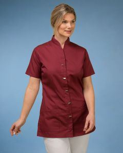 Ladies Tunic With Stand Collar And Zip Fasten And Mock Metal Button Detail in Burgundy