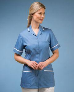 Nurses Stud Fasten Tunic in hospital blue