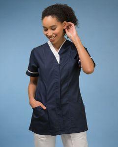 Woman wearing short sleeve v-neck tunic