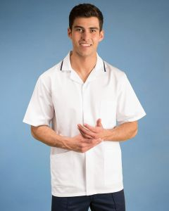 Men's Stud Fasten Short Sleeve Tunic With Contrast Trim On Collar