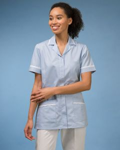 Short Sleeve Ladies Tunic Zip Front And Contrast Trim