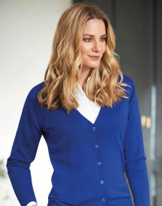 Woman In Royal Blue Buttoned Up Augusta V-Neck Cardigan