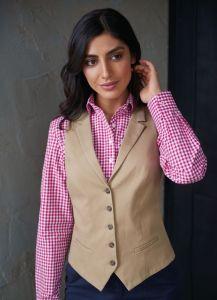 Woman Wearing A Beige Chino Waistcoat