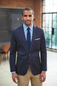 Man Wearing A Slim Fit Navy Blue Chino Business Jacket