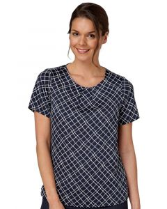 Woman Wearing Diagonal Print Shell Top Blouse With Tuck Neck Detail