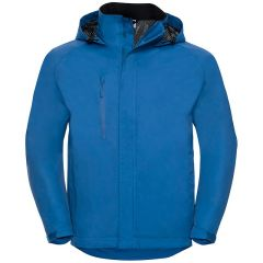 Front View Of Azure Blue Hooded Outdoor Jacket