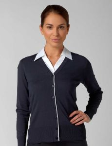 Woman In Navy Blue Fitted Cardigan With A White Trim