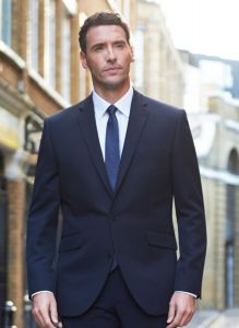 Man Wearing A Navy Blue Tailored Fit Single Breasted Business Jacket