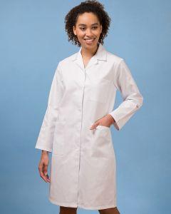 Ladies Long Sleeve Three Pocket Polyester Cotton Coat