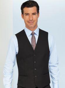 Man Wearing A Black Business Waistcoat