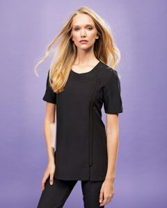 Ladies Short Sleeve Tunic With Cross Over Neckline And Asymmetric Zip Front