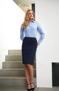 Woman Wearing A Blue And White Striped Blouse With A Navy Straight Design Business Skirt