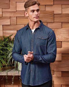 Man Wearing Indigo Blue Jeans Stitch Long Sleeve Denim Shirt