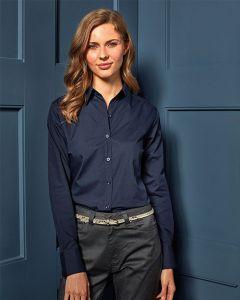 Woman In Navy Long Poplin Shirt