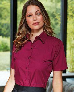 Woman In Aubergine Short Sleeve Poplin Shirt