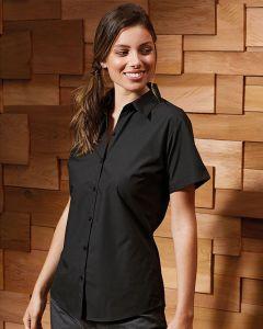 Woman In Black Short Sleeve Blouse