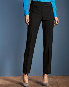 Linen Look Ladies Straight Leg Trouser With A Deep Waistband And Two Button Fastening