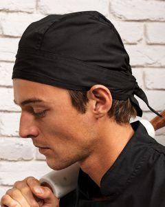 Man Wearing A Black Chefs Zandana