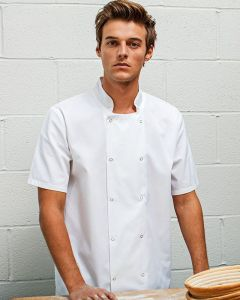 Man Wearing A White Short Sleeved Chefs Jacket