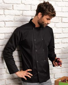 Man Wearing A Black Long Sleeved Chefs Jacket