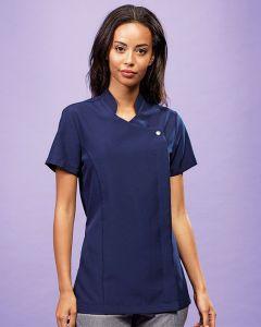 Modal wearing asymmetric button tunic