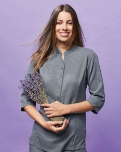 Three Quarter Sleeve Linen Look Button Up Tunic With Grandad Style Collar