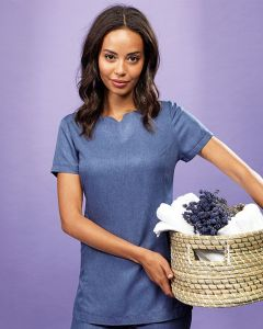 Linen Look Short Sleeve Tunic Round Neck With V Cut And Concealed Zip Back