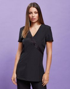 Ladies Short Sleeve Tunic With Satin Wrap Trim And Back Zip Fastening