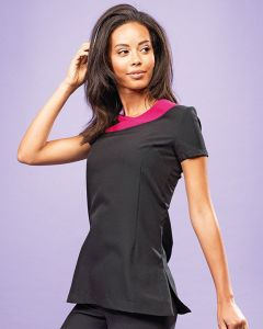 LADIES SHORT SLEEVE TUNIC WITH CONTRAST DETAIL ON FRONT NECKLINE