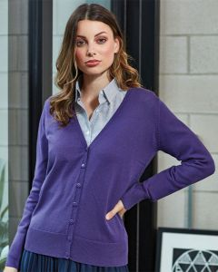 Woman In Purple Cotton Rich Knitted Cardigan