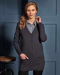 Woman Wearing Buttoned Up Charcoal Grey Longline Cardigan