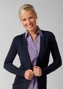 Woman Wearing Navy Cardigan With A Horizontal Rib Design