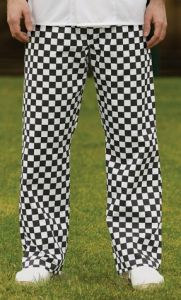 Man Wearing A Pair Of Black And White Chefs Check Trousers