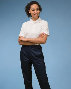 Women's work Trousers With Zip Fasten And Elasticated back Waistband