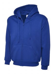 Full Zip Hooded Sweatshirt With Front Pouch Pockets