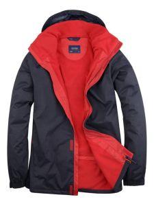 Navy Blue Waterproof Jacket With Red Fleece Lining